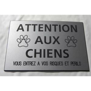 """Plaque - Signalétique Plaque gravée pancarte """"ATTENTION AUX CHIENS VOUS"""