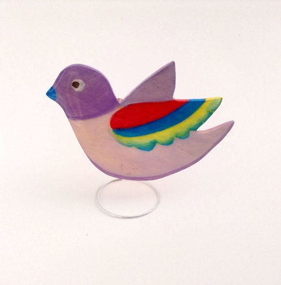 Hand painted laser cut wooden brooch jewelry, crystal resin coated, pin finding, Bird
