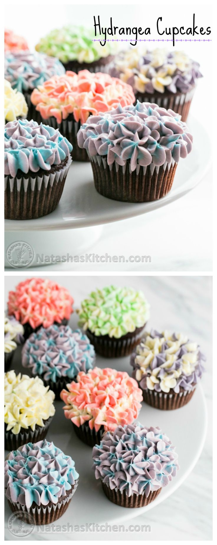 Hydrangea Cupcakes tutorial + recipe for incredible, moist chocolate cupcakes!! #sponsored by Wolf @NatashasKitchen