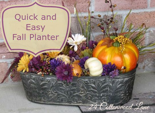 An easy and inexpensive DIY fall planter made from a thrift store planter and fall florals and gourds.