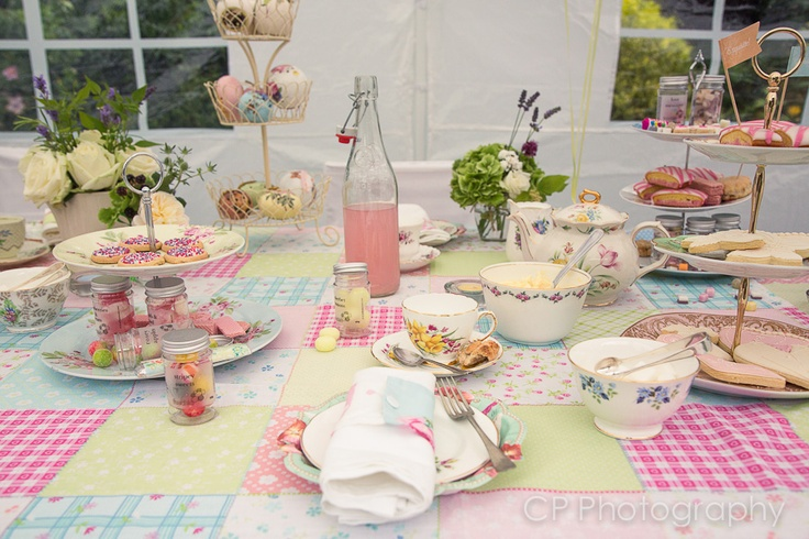 Style your afternoon tea with vintage table cloths, original vintage crockery and accessories. Add flowers by the White Horse Flower Company. All vintage accessories can be hired or purchased from www.fuschiadesigns.co.uk