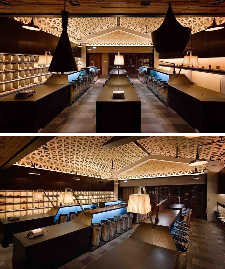 Decke Design Ideen A gewebt Holz fallen Decke schafft A dramatische Kathedrale Effekt In dieser Tee Shop