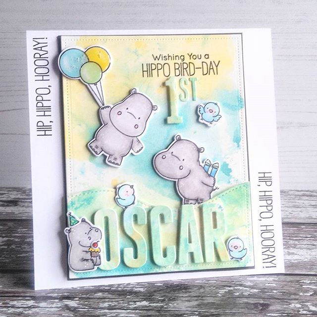Hello! Well I finally ventured into my craft room a few weeks ago now, so I have a few cards I made to share. A lovely friend requested a card for her grandchild, so these happy hippos from #mftstamps made their first outing onto my block!! background created with distressoxide inks, images coloured with promarkers, these hippos are great fun and love the sweet birds. So here we have happy hippos for Oscar #mft #distressoxide #inksmooshing #promarker #mftdies #xcutdies #handmadecards