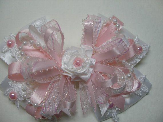 Pretty Pink WHITE Satin & Lace Hair Bow Big Large by HareBizBows, $13.99