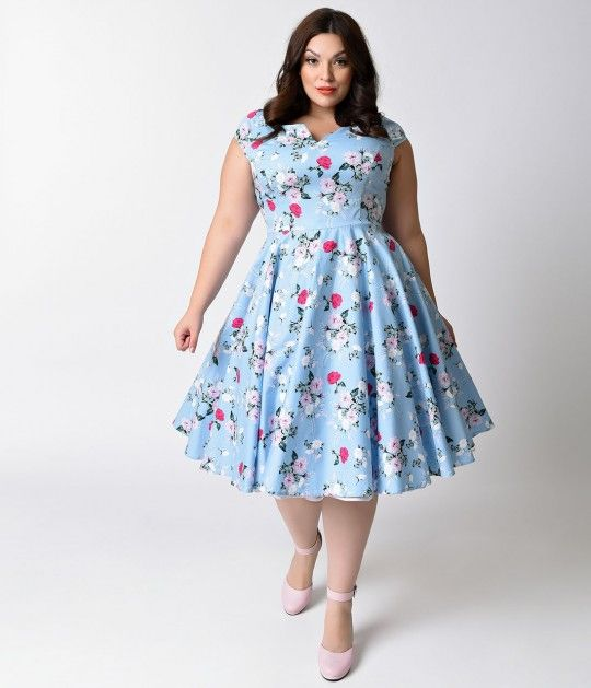 Hell Bunny Plus Size 1950s Style Pale Blue Floral Cap Sleeve Belinda Swing Dress