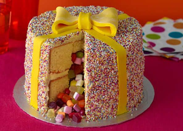 This birthday celebration cake comes with a surprise – cut the vanilla sponge open and sweets spill out of the middle! Decorate with hundreds and thousands a...