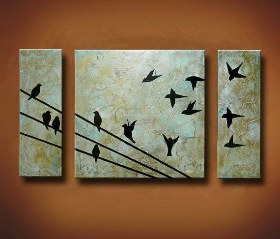 Painting of Birds on a Wire 3 Canvas Painting door BrittsFineArt