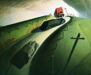 Grant Wood (1891-1942), American / Death on Ridge Road, 1935, oil on masonite / Williams College Museum of Art, Williamstown, MA, gift of Cole Porter