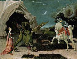 St. George and the Dragon by Uccello, Paolo, painter https://inpress.lib.uiowa.edu/feminae/DetailsPage.aspx?Feminae_ID=28849