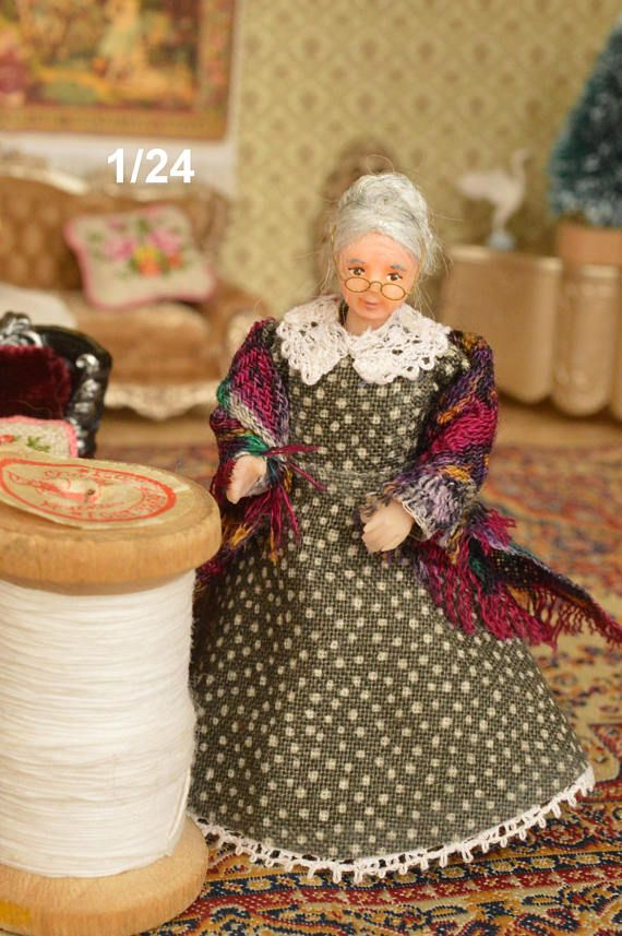 Miniature Doll Polymer Clay  1:24 scale Grandmother  Dollhouse