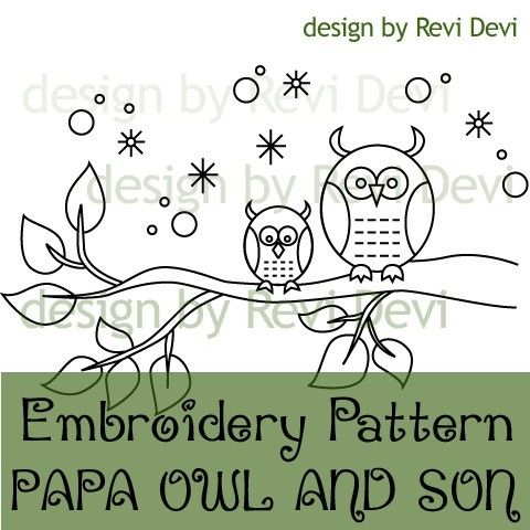 Papa Owl and Son 15016 - PDF Embroidery Pattern - with color suggestion and reversed pattern - Kawaii cute fun whimsical modern design