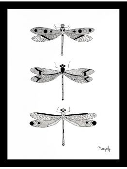 """Original illustration of dragonflies - By Manyoly - Made with China ink """"LIVE LEARN GROW ART ENTRY"""" #elementedenartsearch"""