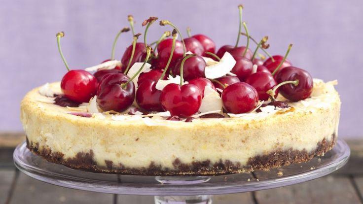 Kokosový cheesecake s ricottou a čerešňami | Recepty.sk