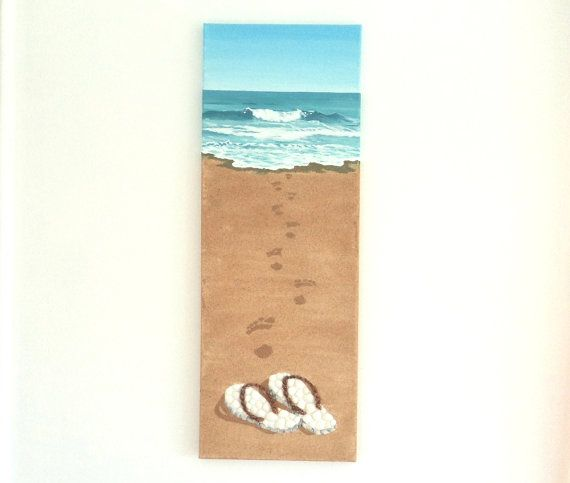 Acrylic Painting, Artwork with Seashells and Sand, Art Wall Picture of Flipflops & Footprints in Seashell Mosaic, Mosaic Art, 3D Art Collage, Home Decor, Wall Decor #ArtworkwithSeashells #mosaiccollage #seashellmosaic #homedecor #walldecor #3D