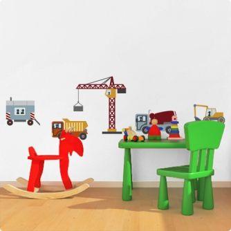 Awesome Mit dem Wandsticker Set Baustelle machen Sie Ihren kleinen Baumeistern sicher eine gro e Freude Wundersch nes Wandbild f rs Kinderzimmer