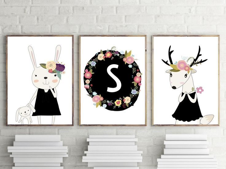 girls nursery or bedroom prints floral woodland bunny deer personalised monogram kids wall art decor modern print set of 3 a4 8x10 - Kid Prints