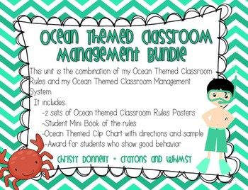 """This is a bundle set of my Ocean Themed Classroom Rules and my Ocean Themed Classroom Management System. It includes 2 sets of classroom rules posters. One is more """"color ink friendly"""" than the other. There are sample ideas of how you can display the rules."""