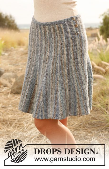 "Knitted DROPS skirt with stripes worked from side to side with short rows in ""Fabel"". Size: S - XXXL."