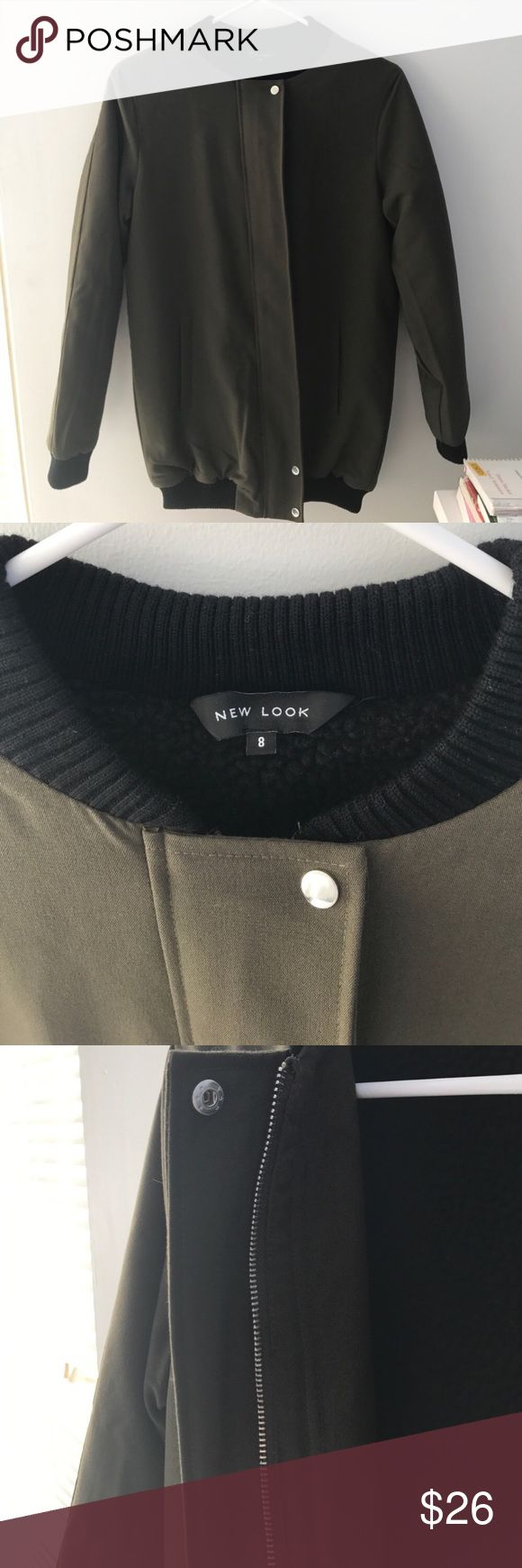 New Look Borg Lined Longline Bomber Soft-touch woven fabric Only worn once Baseball collar Size: US 4  Wool lining  Olive in color ASOS Jackets & Coats
