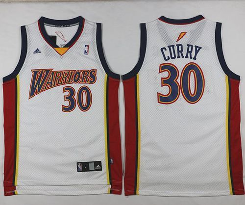 Golden State Warriors #30 Stephen Curry White Throwback Stitched NBA Jersey