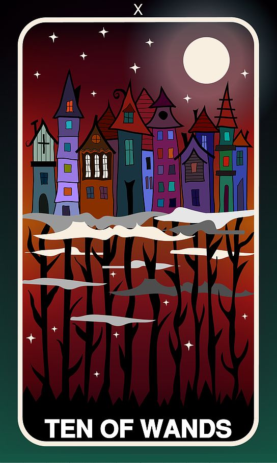 Tarot Card, Ten of Wands  #wands #witch #gothic #illustration #tarotdeck #children #tales #city #adventure #magic