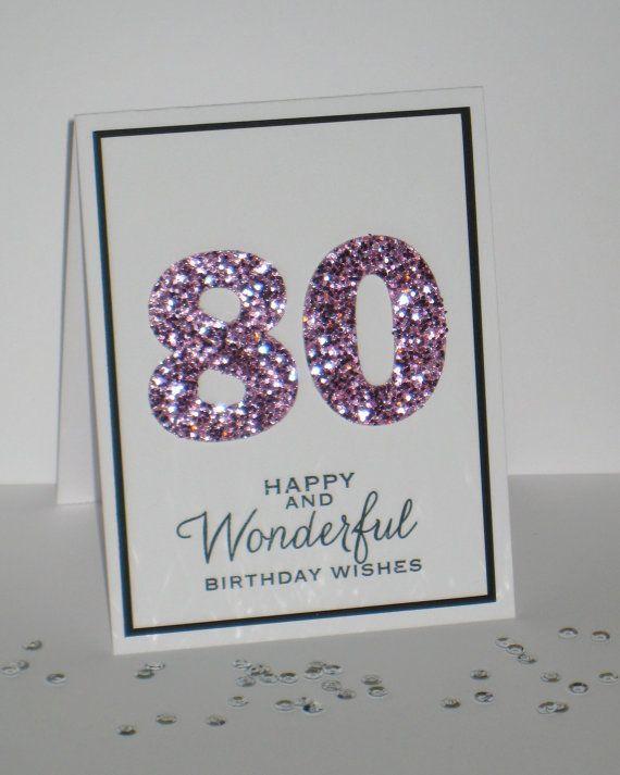 Birthday Card Ideas 80th Any Age Milestone By GlitterInkCards 450