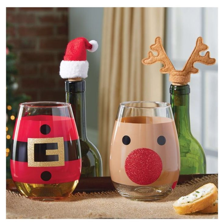 Holiday Stemless Wine Glass & Topper