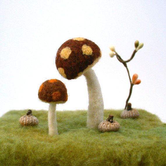 Retro Spotted Mushrooms   Felted Set of Four by FoxtailCreekStudio