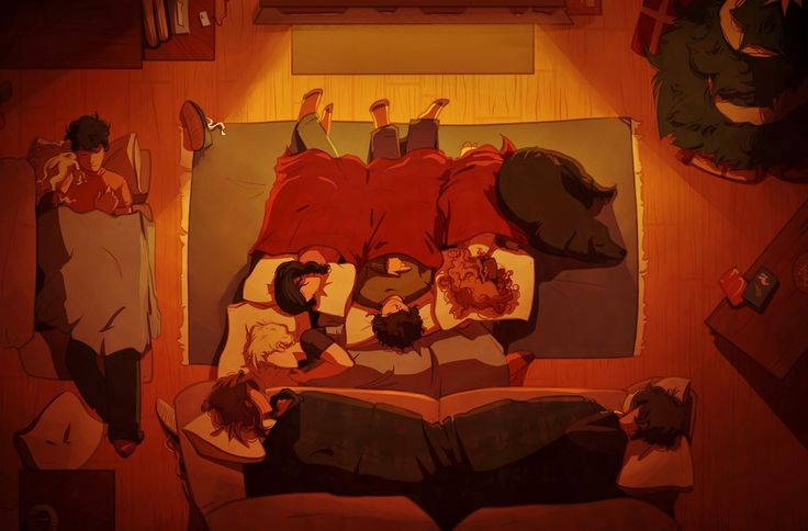 """""""Someday soon we will all be together, if the fates allow, until then we'll have to muddle through somehow, so have yourself a merry little Christmas now."""" - Annabeth, Percy, Reyna, Nico, Hazel, Frank, Jason, Piper, and Leo *.* (Frank is the dog, Percabeth cuddles, Leo and Piper sharing the couch, Hazel and Frank sleeping next to each other... THIS IS AMAZING! <3 <3"""