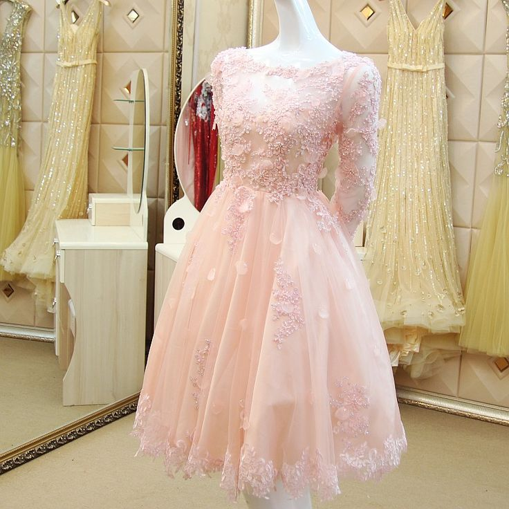 Find More Cocktail Dresses Information about Sexy V Back Ball Gown Flowers Pearls Long Sleeve Lace Party Cocktail Dresses 2015 Formal Short Prom Gowns vestidos de coctel XC3,High Quality dress kilt,China dress up fashion doll Suppliers, Cheap gown party dress from LaceBridal on Aliexpress.com