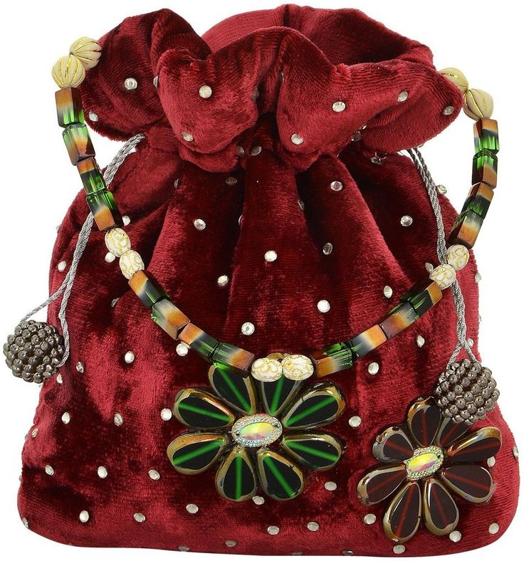 Ethnic Indian Ladies Girls Maroon Velvet  Potli Pouch Small Bag Purse Sale #Handmade #DrawstringPotli