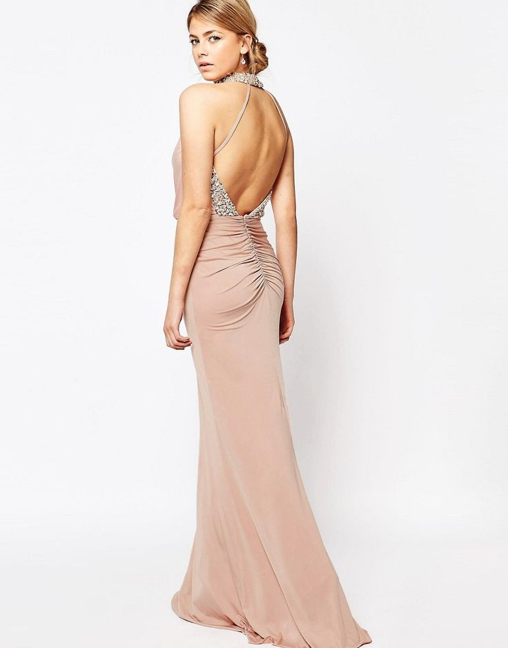 Image 4 of Forever Unique Embellished High Neck Dress with Open Back