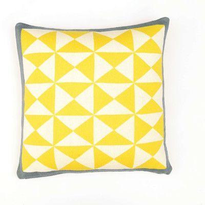 Darzzi Wind Farm Cushion Cotton Throw Pillow Color: Sulphur Yellow/Natural/Dark Gray