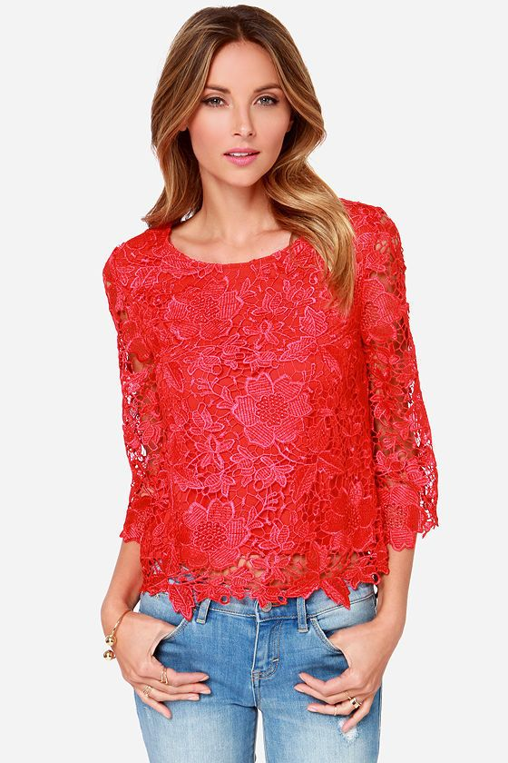 Red Lace Top - $32
