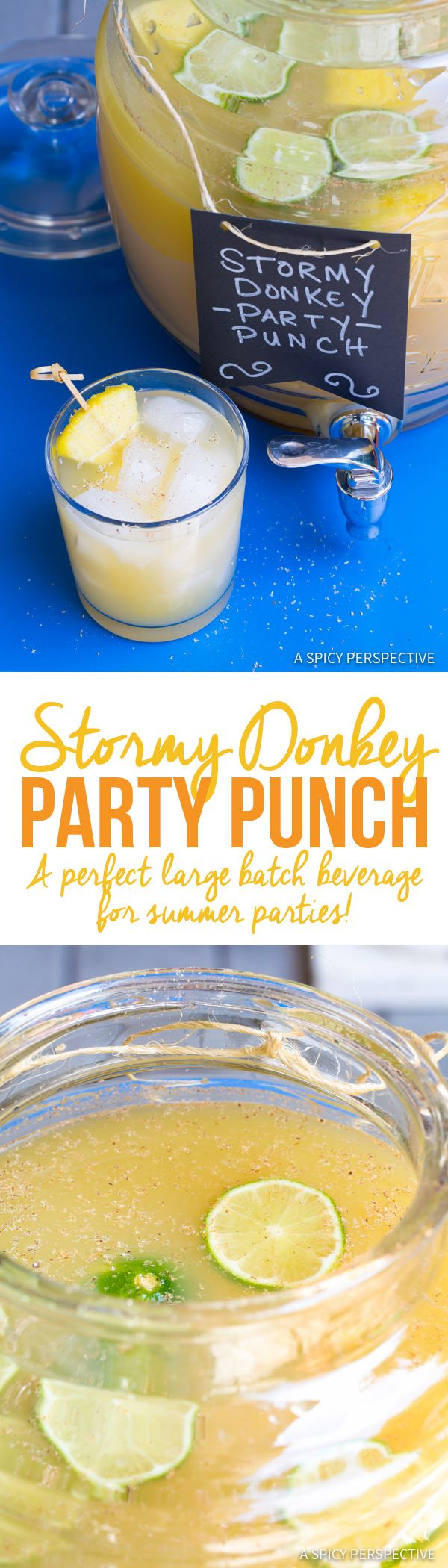 Sparkling Stormy Donkey Party Punch - Large Batch Cocktail for Summer Parties! |ASpicyPerspective.com