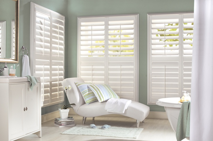 Create a great Spa look in a bathroom with Luxaflex Polyresin Shutters.  #luxaflex #bathroom #shutters