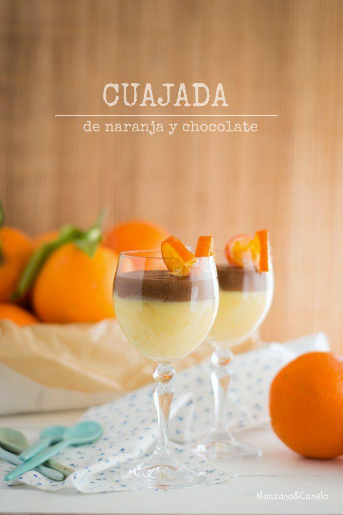 Cuajada de naranja y chocolate. Chocolate and orange curd.