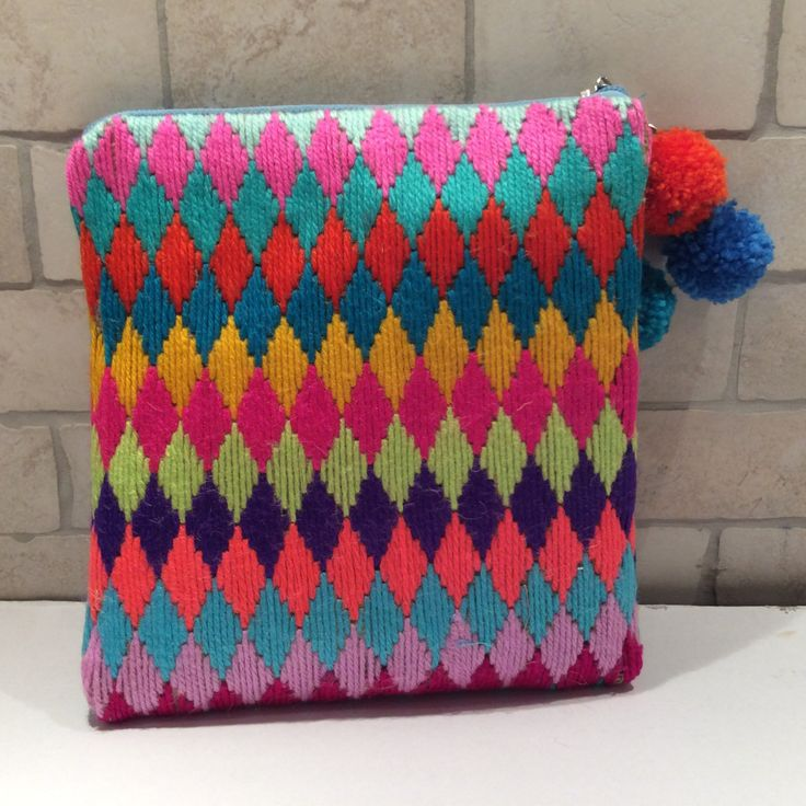 Hand woven, woolen clutch, embroidered with various colors yarns on geometrical prints, one of a kind, handmade, boho pouch, pompom detailed by Apopsis on Etsy