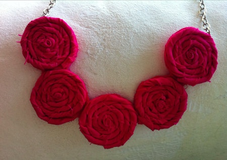 Pink Rosette Necklace  Summer Elegance by TheGentleFlower on Etsy, $42.00