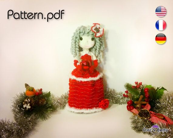 Pattern  Noëlle Santa Girl by CrocsBetty on Etsy