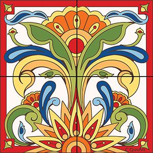 Complete your Southwest decor with these colorful Floral ceramic tile murals! Use them on a kitchen wall to brighten your work area or in any room of the home with tile. Floral patterns will accentuate almost any design! Available in both a 4 tile mural or the larger 9 tile below.