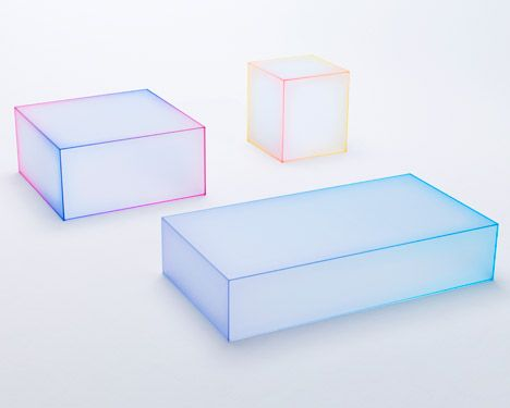 """Nendo's Soft collection for Glas Italia - 3 low tables. Each is made from five sheets of frosted glass. The joints between each panel of glass have been finished in a bright strip of colour, applied to the edges before the tables were assembled. This expresses a delicate 'blurriness', an appearance that contradicts the conventional image of glass, which is of a hard and sharp material."""""""