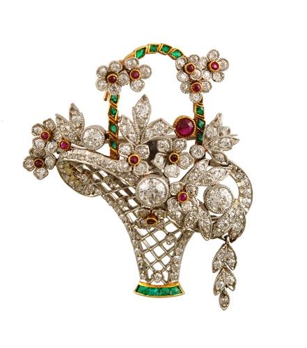 Daimond Ruby & Emerald Basket Pin - Yafa Jewelry