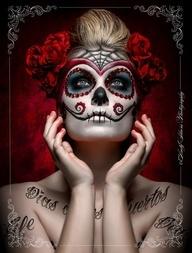 muertos makeup red flowers