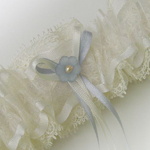 Sheer Layers Of Ivory Lace And Chiffon Ribbon Are Used In This Light Airy Garter