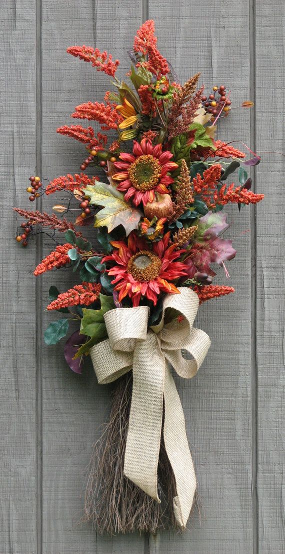 Front Door Decor Fall Swag Sunflower Harvest by SimpleJoysofLife, $49.00