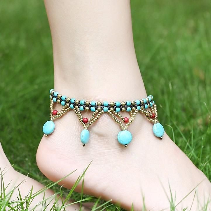 Vintage Turquoise Beads Braided Rope Copper Bell Anklet at Banggood