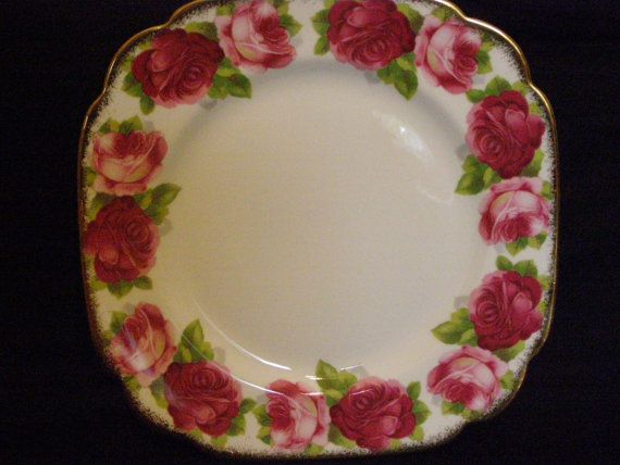 Royal Albert Old English Rose Square Salad by TheTeacupAttic