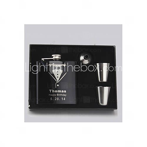 Gift Groomsman Personalized 4 Pieces Black Stainless Steel 6-oz Flask in Gift Box - USD $ 8.89