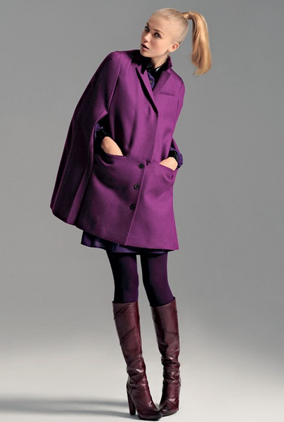 purple coat, dress and tights
